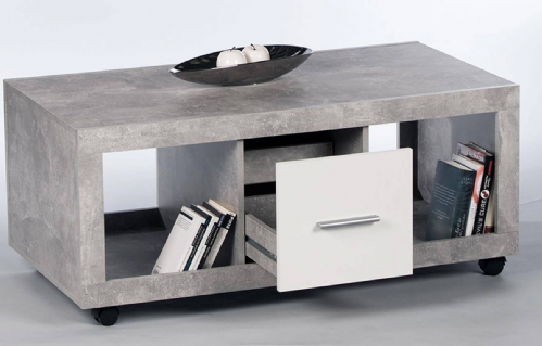 Pietra Coffee Table with Drawer Grey and White Gloss - 2701